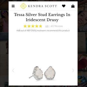 Kendra Scott Tessa Silver Stud in Iridescent Drusy